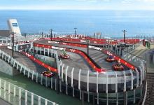 """Norwegian Joy"" cruise ship features 2-story Ferrari-branded racetrack"