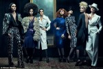 Tom Ford with his celebrity models wearing his own label