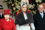 HRH Sheikha Mozah, First Lady of Qatar with HRH Queen Elisabeth II and Prince Philip