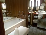 Bathroom of renovated room at Ararat Park Hyatt Moscow