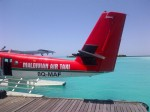 Arrival by seaplane, Maldives