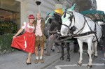 Lars Wagner, General Manager of Mandarin Oriental Munich, with horse drawn carriages in front of the hotel