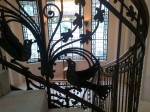 Wrought iron peacock and leaves elements in Art Nouveau staircase - Four Seasons Gresham Palace, Budapest