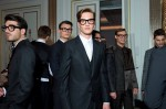 Dolce & Gabbana models leave the Claridge's Hotel for the street 'catwalk' of Tailoring Fall 2014