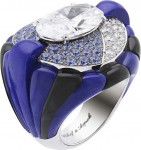 Van Cleef & Arpels ''Peau d'Ane'' collection Star of the Night white gold ring with lapis lazuli, onyx, diamonds, tanzanite and a central 5.75ct oval diamond