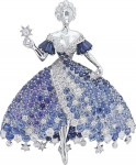 Van Cleef & Arpels Peau d'Ane collection white gold Moon Dress brooch with diamonds, blue spinels, blue and purple tanzanites, and blue and purple sapphires