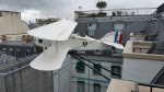 Suspended aeroplane (L'Oiseau Blanche) at Peninsula Paris, tribute to Pierre Levasseur's Atlantic crossing in 1927