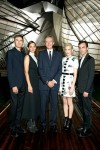 Raf Simons, Maron Cotillard, Bernard Arnault, Michelle Williams and Nicolas Ghesquière at the opening of Louis Vuitton Foundation October 25, 2014