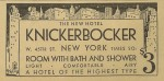 The Knickerbocker Hotel NYC historic ad