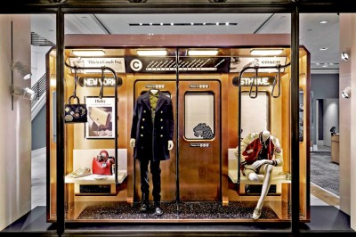 Coach subway themed store windows, Fall 2016