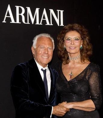 Giorgio Armani and Sophia Loren at 'One Night in Rome' - photo Ansa